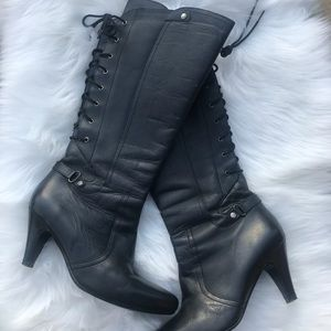 Andrea Lace Up Back Knee Hi Leather Boots